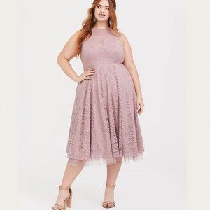 Torrid Special Occasion Pink Lace Midi Dress 20